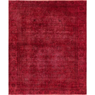 Distressed Edwine Pink Hand-Knotted Rug (7'10 x 9'1)