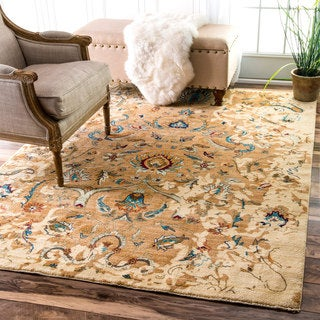 nuLOOM Traditional Persian Timeless Blossom Ivory Rug (4' x 5'7)