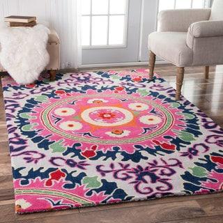 nuLOOM Handmade Contemporary Ornamental Wool Pink Rug (5' x 8')