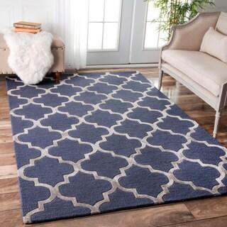 nuLOOM Contemporary Handmade Wool/Viscose Trellis Navy Rug (7'6 x 9'6)
