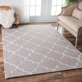 nuLOOM Contemporary Handmade Wool/Viscose Trellis Beige Rug (9' x 12')