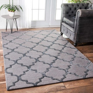 nuLOOM Contemporary Handmade Wool/Viscose Trellis Dark Grey Rug (7'6 x 9'6)