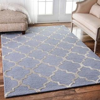 nuLOOM Contemporary Handmade Wool/Viscose Trellis Light Blue Rug (7'6 x 9'6)