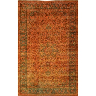 Distressed Edita Orange Hand-Knotted Rug (6'1 x 10'11)