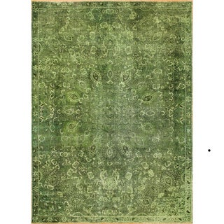Distressed Stanley Green Hand-Knotted Rug (7'7 x 9'1)