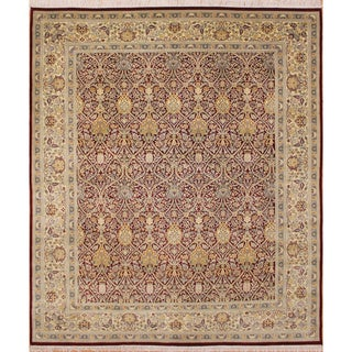 Pak-Persian Milton Dark Red Hand-Knotted Rug (8'1 x 10'1)