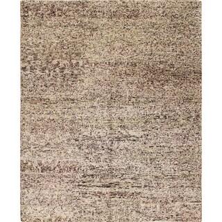 Sari Silk Elton Beige Hand-Knotted Rug (8'1 x 9'10)