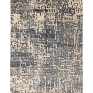 Sari Silk Ansley Blue Hand-Knotted Rug (7'11 x 10'1)