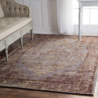 nuLOOM Traditional Medallion Border Taupe Rug (5' x 8')