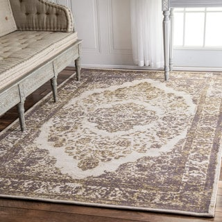 nuLOOM Traditional Medallion Border Silver Rug (7'6 x 9'6)