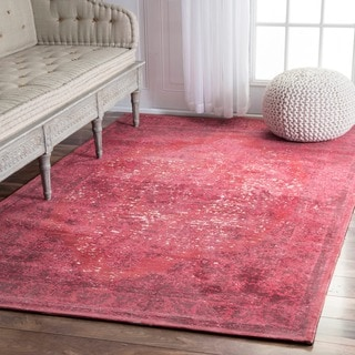 nuLOOM Traditional Medallion Border Red Rug (7'6 x 9'6)