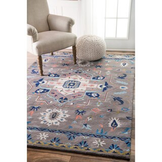 nuLOOM Overdyed Persian Palace Wool Grey Rug (7'6 x 9'6)