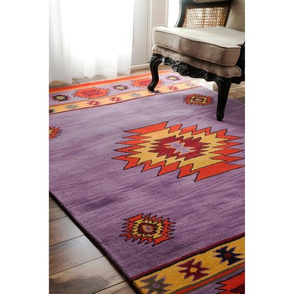 Nuloom Handmade Wool Southwestern Lavender Rug 8 6 X 11 6
