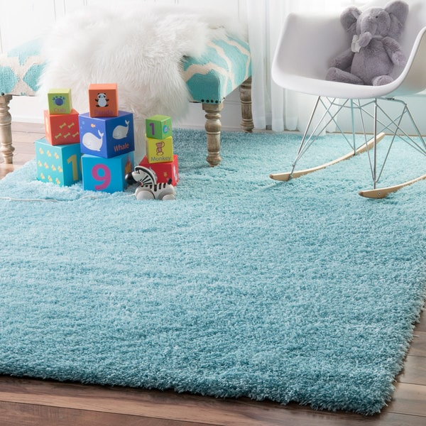 NuLOOM Soft And Plush Cloudy Solid Shag Baby Blue Rug (8