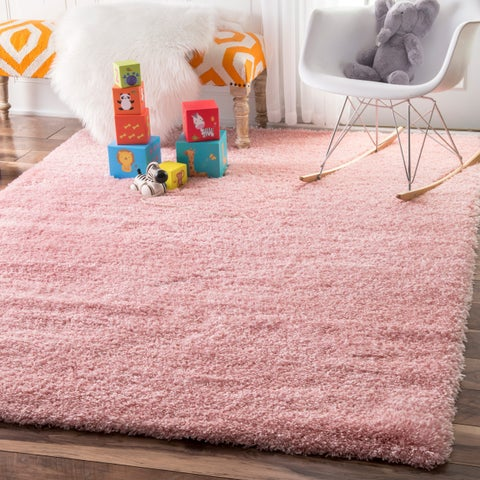 Silver Orchid Rita Solid Baby Pink Shag Area Rug - 4' x 6'