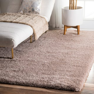 nuLOOM Soft and Plush Cloudy Solid Shag Light Brown Rug (8' x 10')