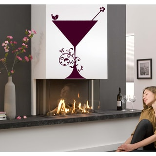 Glass with a drink and a bird Wall Art Sticker Decal Red
