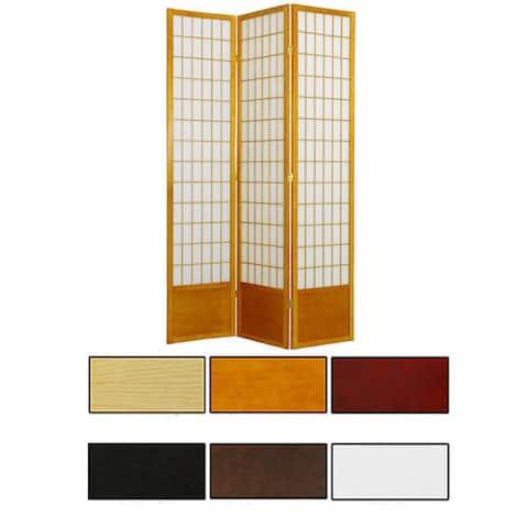 """Handmade 84"""" Wood and Rice Paper Window Pane Shoji Screen"""
