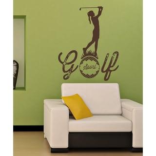 Sport Golf Girl Wall Art Sticker Decal Brown