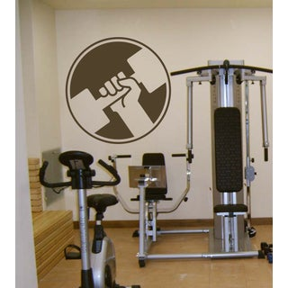 Gym athlete dumbbell body-builder Wall Art Sticker Decal Brown