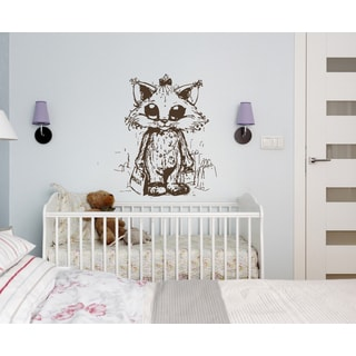 Cute kitten Wall Art Sticker Decal Brown
