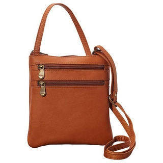 LeDonne Women's Leather Two Zip Mini Crossbody Shoulder Strap Handbag