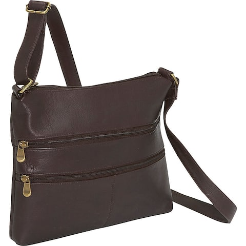 LeDonne Leather Women's Handcrafted Leather Two Zip Crossbody Handbag