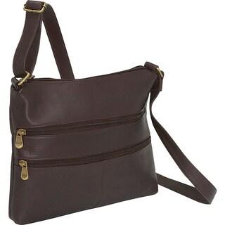LeDonne Women's Handcrafted Leather Two Zip Crossbody Handbag
