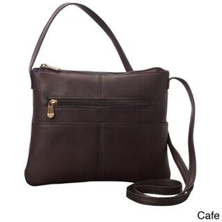 LeDonne Women's Handcrafted Leather Three Slip Crossbody Shoulder Handbag