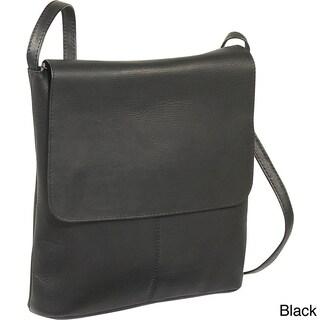 LeDonne Leather Simple Flap Over Crossbody Handbag (Option: Black)