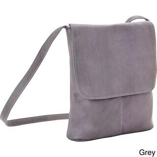 LeDonne Leather Simple Flap Over Crossbody Handbag (Option: Grey)