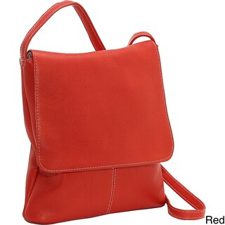LeDonne Leather Simple Flap Over Crossbody Handbag (Option: Red)