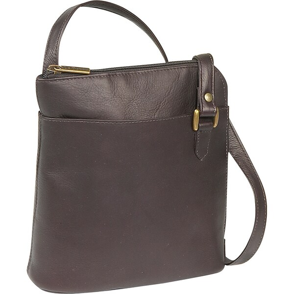 LeDonne Leather Women's Handcrafted Leather L-Zip Crossbody Shoulder Handbag
