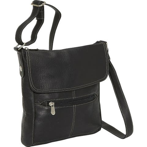 LeDonne Leather Women's Handcrafted Leather Crossbody Shoulder Strap Handbag with Contrast Stitching
