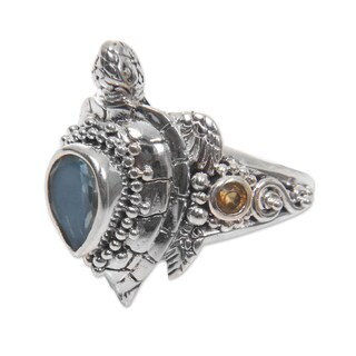 Handmade Sterling Silver 'Sea Turtle Enchantment' Multi-gemstone Ring (Made In Indonesia) - turquoise