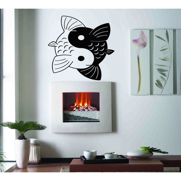 China black and white fish Wall Art Sticker Decal