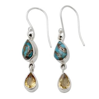 Sterling Silver 'Heavenly Light' Citrine Turquoise Earrings (India)
