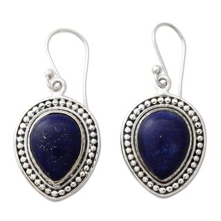 Sterling Silver 'Royal Droplets' Lapis Lazuli Earrings (India)