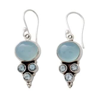 Sterling Silver 'Bubbling Stream' Topaz Chalcedony Earrings (India) https://ak1.ostkcdn.com/images/products/11761846/P18676376.jpg?impolicy=medium