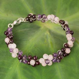 Silver Plate 'Plum Blossoms' Multi-gemstone Bracelet (Thailand)