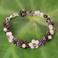 Handmade Silver Plate 'Plum Blossoms' Multi-gemstone Bracelet (Thailand)