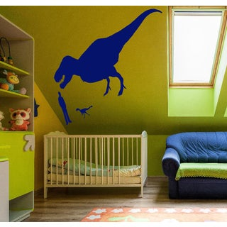 Dinosaur and people Wall Art Sticker Decal Blue