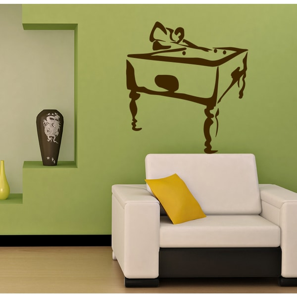 Shop A pool table Wall Art Sticker Decal Brown - Free Shipping On ...