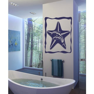 Starfish and dolphins Wall Art Sticker Decal Purple
