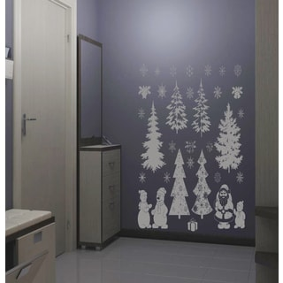 Christmas tree Snowmen Santa Claus Wall Art Sticker Decal Silver
