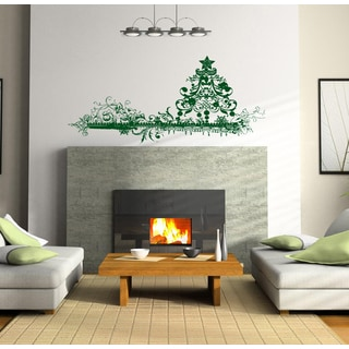 Decorating a Christmas tree and toys Wall Art Sticker Decal Green