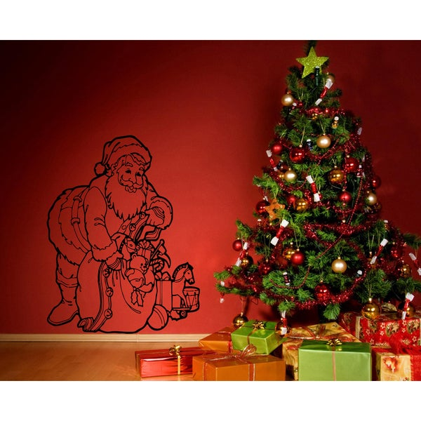 Shop Santa Claus and a bag of gifts Wall Art Sticker Decal - Free ...