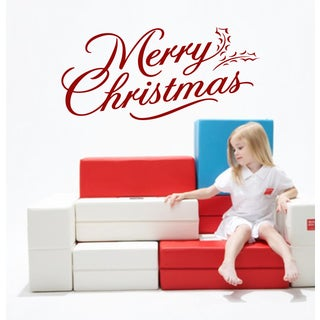 Merry Christmas Quote Wall Art Sticker Decal Red