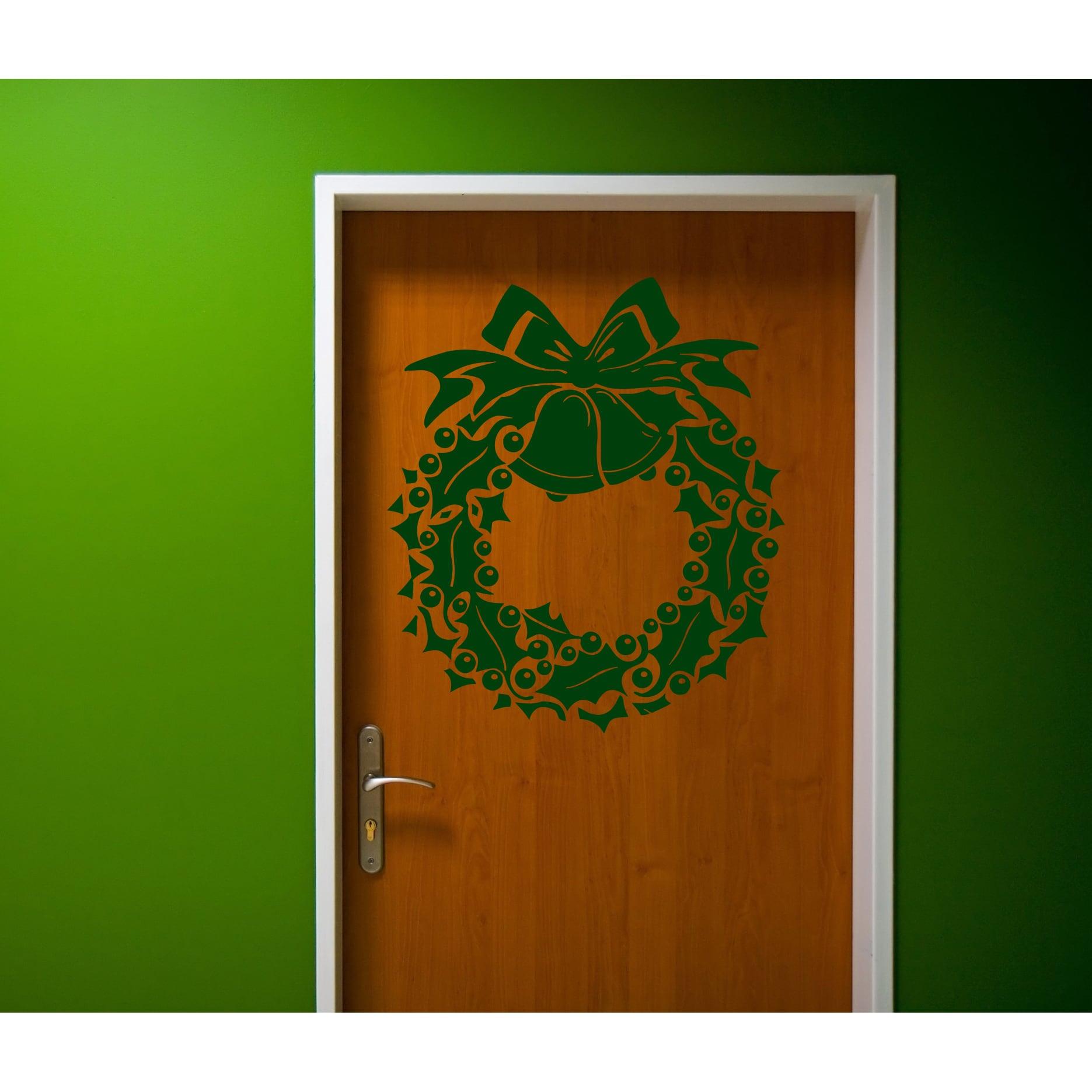 Wreath Merry Christmas Wall Art Sticker Decal Green (22 i...
