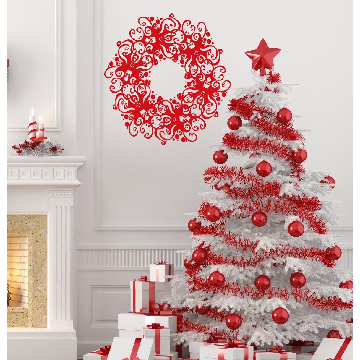 Beautiful Christmas wreath Wall Art Sticker Decal Red (22...